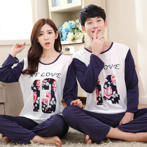High Quality Long-Sleeved Lovers Pajamas