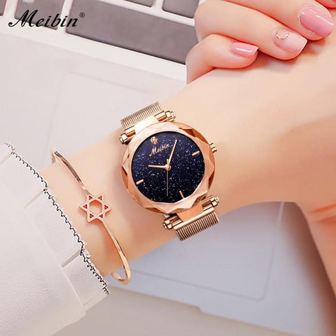 Fashion Women Starry Sky Dial Magnet Buckle Wrist Quartz Watch - UYL Online Store
