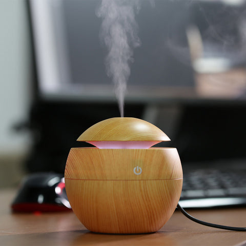 Portable Ultrasonic LED USB Wooden Aromatherapy Air Humidifier
