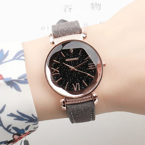 Women's Luxury Watch Rose Gold Star Design with leather straps