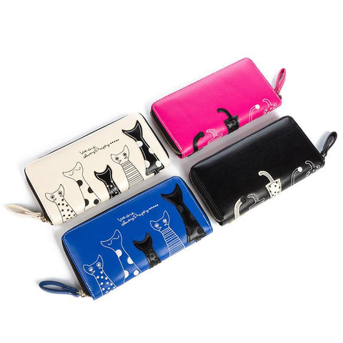 Casual Style Creative Cat Cartoon Design European Long Wallet - UYL Online Store