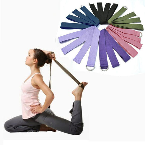 Multi-Colors Women Yoga Stretch Strap D-Ring Belt Fitness Exercise Gym Rope Figure Waist Leg Resistance Fitness Bands