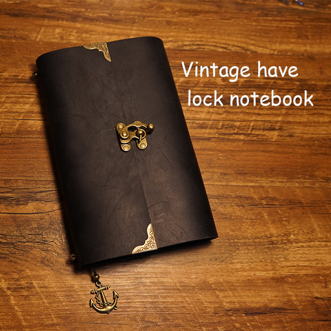 Vintage Leather Notebook Planner with Lock