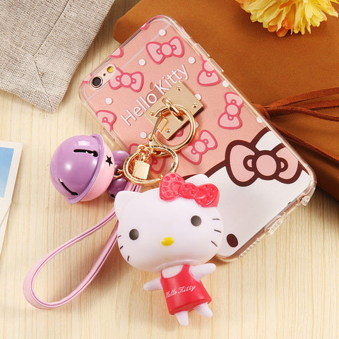Newest Lovely Cartoon Skins Clear Soft Case With Bell Pendant Metal Ring For iPhone - UYL Online Store