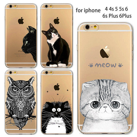 Soft TPU Silicon Transparent Thin Cover Cute Cat Owl Animal Case