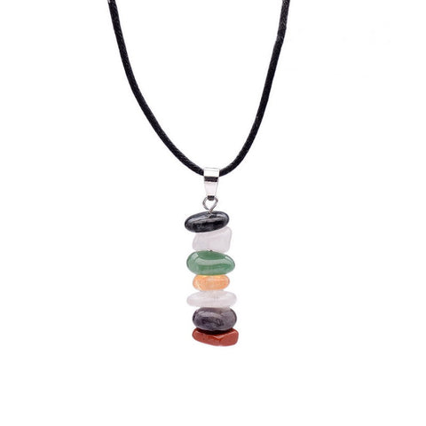 Rainbow Color Chakra Healing Reiki Natural Stone Yoga Pendant Necklace