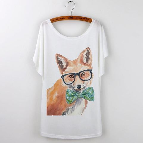 Animal T-Shirt Summer Tops Women Clothing Cute Fox Short Sleeve Tops