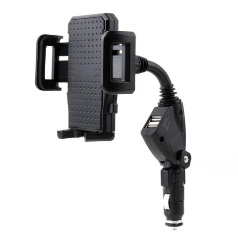 Dual Port USB Car Lighter Charger With Mobilephone Mount