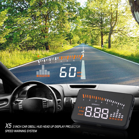 Universal Auto Car Head Up Display Projector With Odb II Interface Speed Warning System
