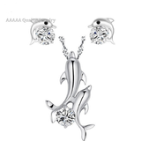 Silver Plated Ladies Cubic Zirconia Jewelry CZ Diamond Dolphin Necklace Fashion Stud Earrings Set