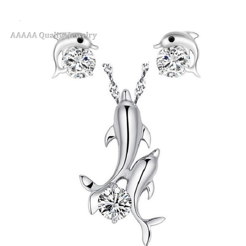 Silver Plated Ladies Cubic Zirconia Jewelry CZ Diamond Dolphin Necklace Fashion Stud Earrings Set - UYL Online Store