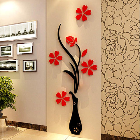 3D Vase Acrylic Crystal Wall Stickers - UYL Online Store