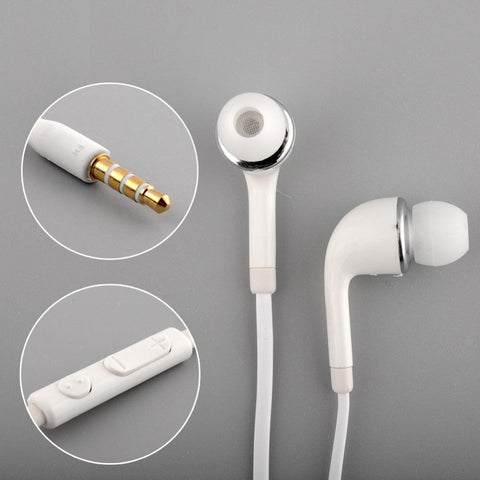 White Handsfree In-Ear Headset For SAMSUNG GALAXY S4 With Remote and Mic