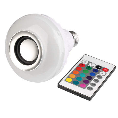 Wireless Bluetooth Remote Control Mini Smart LED Audio Speaker RGB Color Light Warm Bulb Music Lamp
