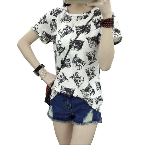 Women Dress Summer New Fashion Female T-shirt Korean Sweet Cartoon Cat Printed Ladies Short Sleeve Tops Plus Size M-4XL