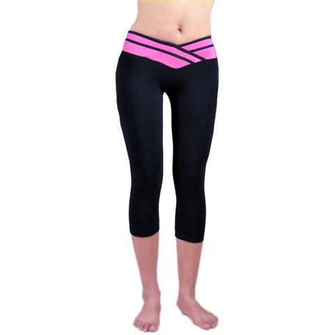Women Sport Athletic Gym Workout Fitness Yoga Waistband Capri Leggings Pants FREE plus Shipping Offer
