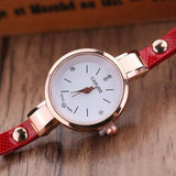 Fashion Casual Bracelet Leather Rhinestone Analog Quartz Watch
