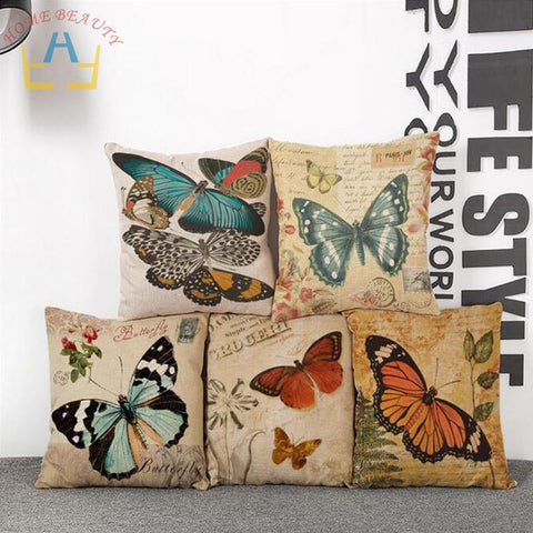 Butterfly Design Summer Style Woven Canvas Pillow Case