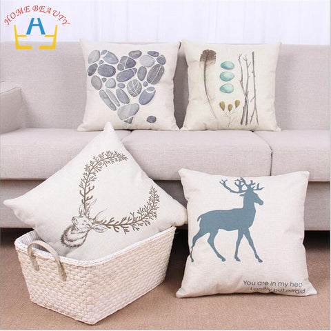 Summer Style Animal and Stone Print Canvas Pillow Case