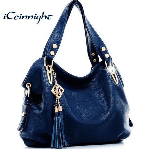 Women Leather Handbags Clutch Shoulder Bag Vintage Tassel Bag