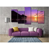 Maldives Sunset Wall Art 5 Piece Staggered 2 - UYL Online Store