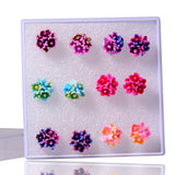 Resin Flower Stud Earring 6 Pairs Set - UYL Online Store