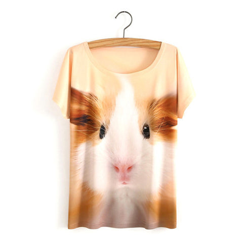 New Summer Fashion Women Short Sleeve 3D Animal Printed T shirt Casual Tops
