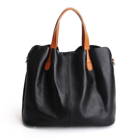 Women Genuine Leather Tote Shoulder Bag Bucket Purse Shopping Bag