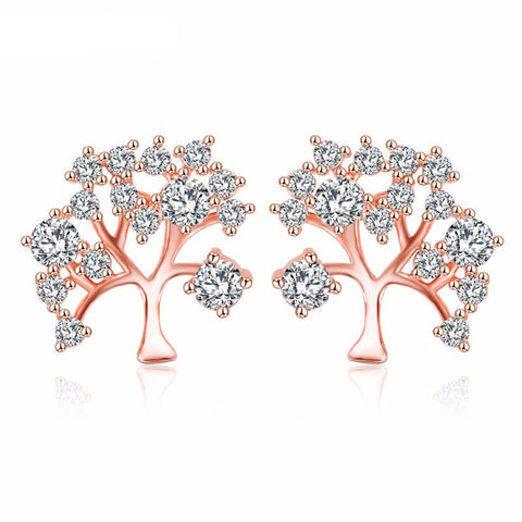 Tree Design Stud Gold And Silver Earrings