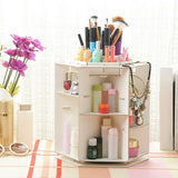 Wooden Rotatable Makeup Cosmetics Jewelry Organizer