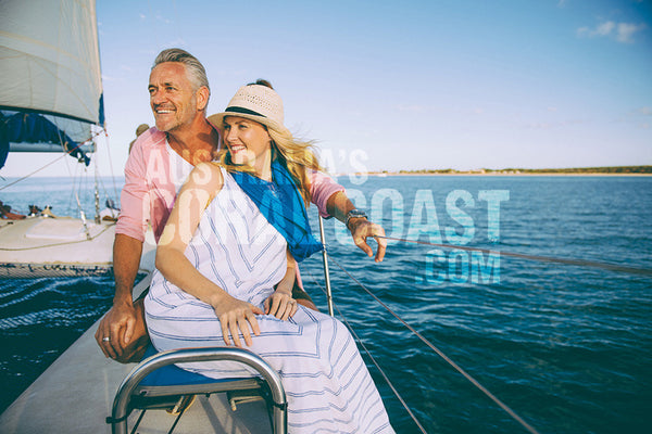 caucausian couple on cat boat in shark bay