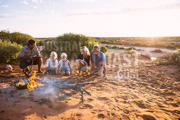 caucausian family in red dirt shark bay mm tour