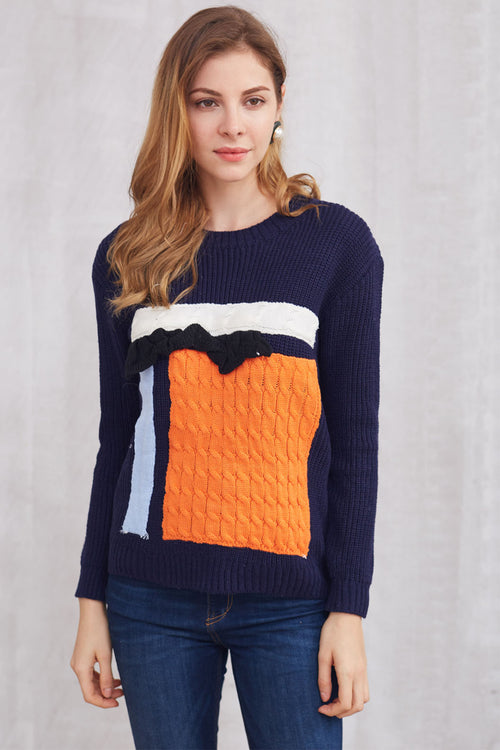 Color Block Ruffle Pullover