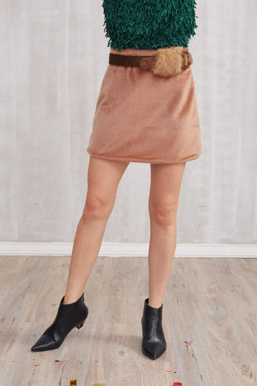 Mink Fur Mini Skirt