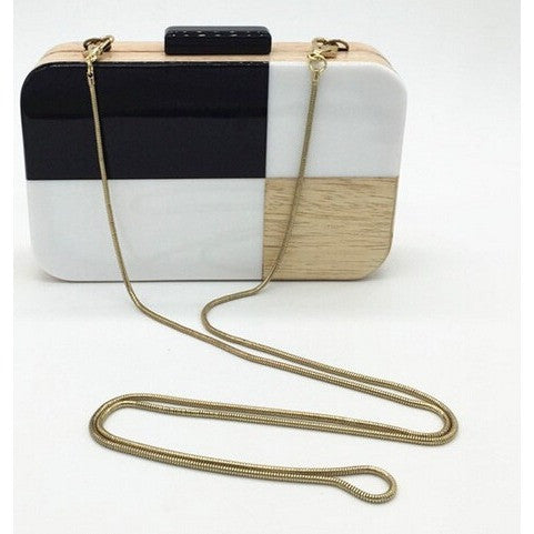 Monchrome Wooden Clutch - Women Bags - Kerkés Fashion
