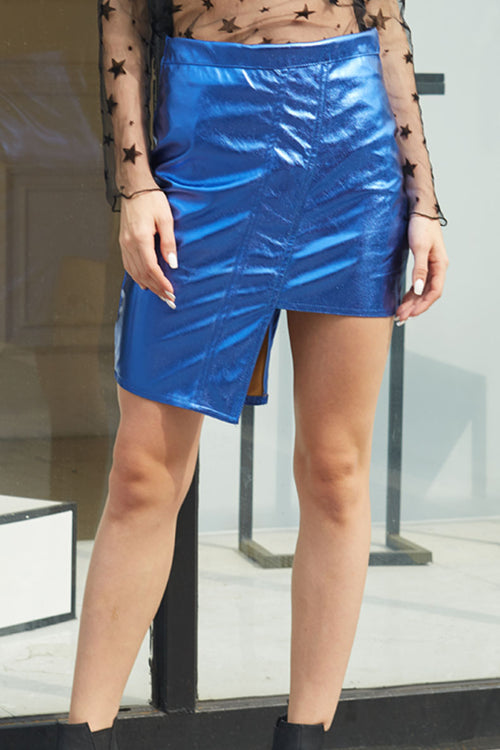 Ella Metallic Leather High-low Skirt - Skirts shine - Kerkés Fashion