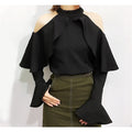 Reba Ruffled Cutout Shoulder Top - Tops - Kerkés Fashion