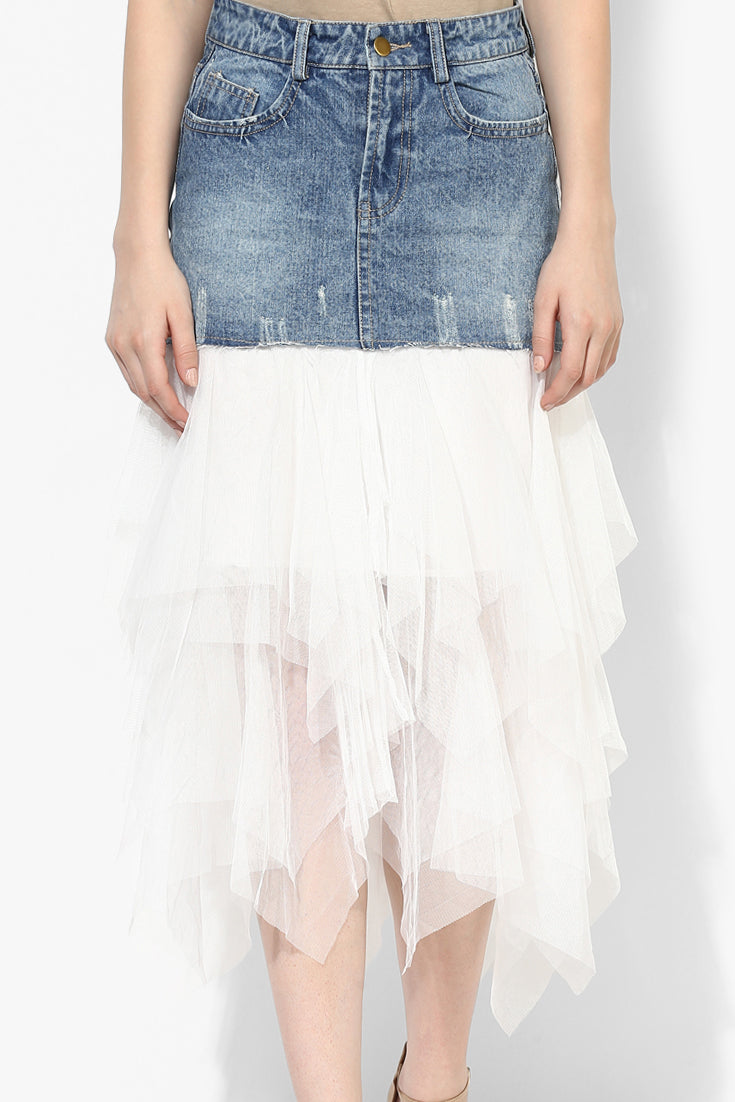 Demi Denim Tulle Skirt - Skirts - Kerkés Fashion