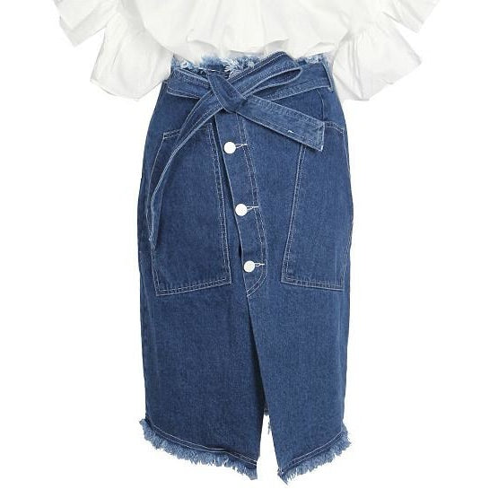 Delyn Front Tie Denim Skirt
