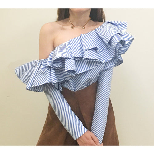 Double Ruffle Striped One Shoulder Top - Women Tops - Kerkés Fashion