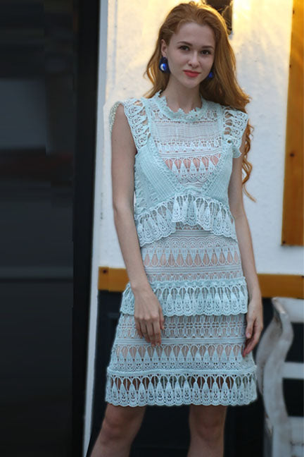 Ethereal View Tiered Lace Dress