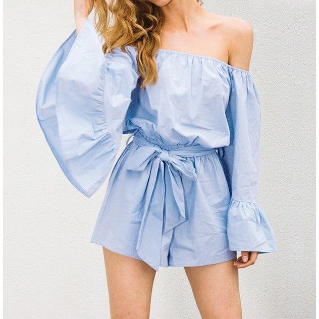 Faelyn Flared Sleeve OffShoulder Playsuit -  - Kerkés Fashion