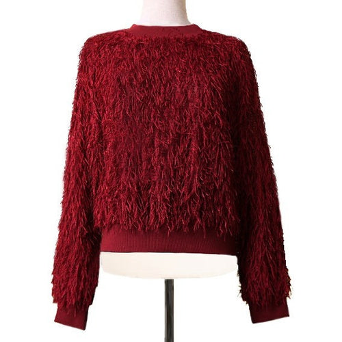 Fuzzy Fringy Sweatshirt - AW Women Sweatshirts - Kerkés Fashion