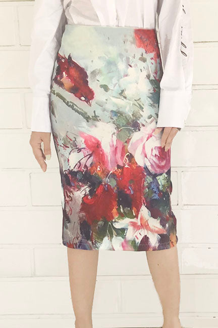Floral Watercolor Graphic Skirt - Skirts - Kerkés Fashion