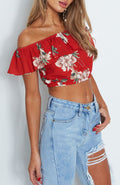 Flower Power Offshoulder Crop Top - tops crop casual party - Kerkés Fashion