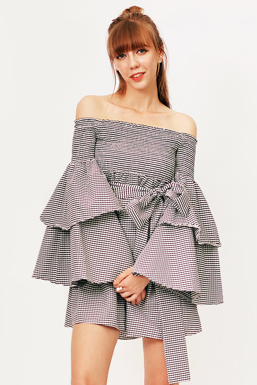 Gayle Gingham Bell Sleeve Dress - Dresses Casual Party - Kerkés Fashion