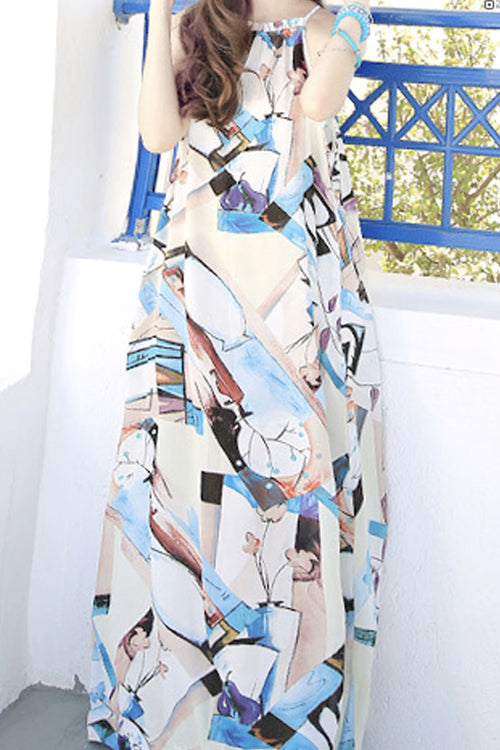 Give me a Break Geometric Print Maxi Dress - Dresses Casual - Kerkés Fashion