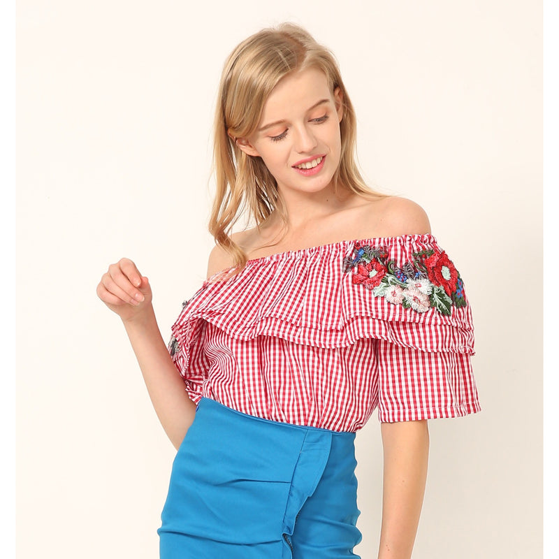 Gingham Patch Offshoulder Top