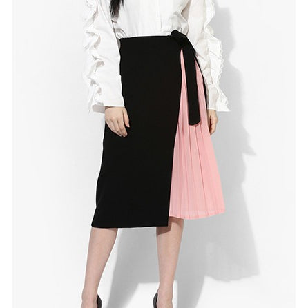 Ellen Half Pleated Overlap Skirt