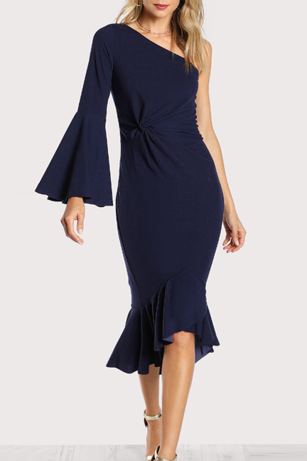 Ocean Of Elegance Navy Knotted Dress - Dresses Party - Kerkés Fashion